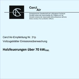 Neue Vollzugsblätter Emissionsüberwachung: Cercl'Air-Empfehlung Nr. 31p